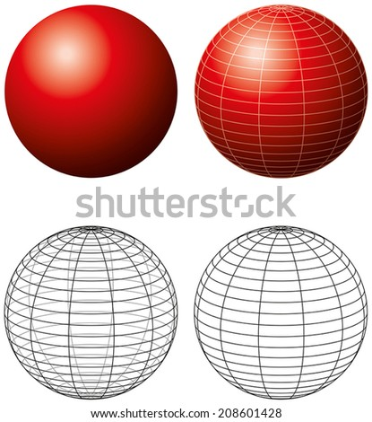 Red Sphere With Meridians - Three-dimensiona lred sphere with grid-lines and outline version. Vector illustration on white background. - stock vector