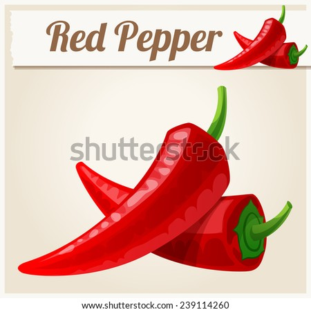 Red Spicy Peppers. Detailed Vector Icon. Series of food and drink and ingredients for cooking. - stock vector