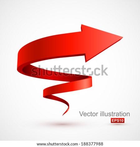 Red spiral arrow 3D. - stock vector