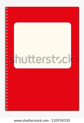 Red  spiral notebook cover with label vector image - stock vector