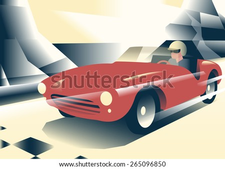 Red sports car riding mountains in the background. Illustration in vintage style posters - stock vector