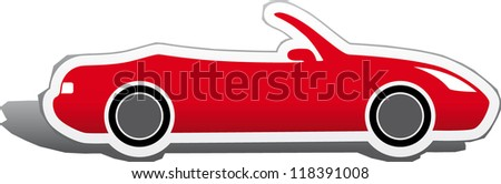 red sportscar icon, - stock vector