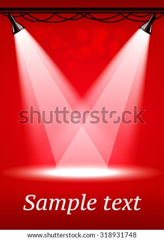 Red spotlights background with two projectors - stock vector