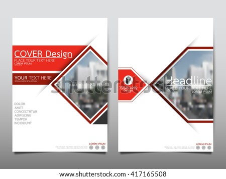 Red square annual report brochure flyer design template vector, Leaflet cover presentation abstract geometric background, layout in A4 size - stock vector