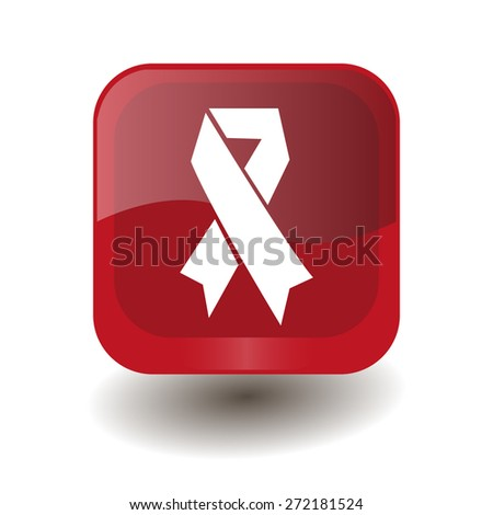 Red square button with white AIDS sign, vector design for website  - stock vector