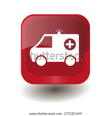 Red square button with white ambulance sign, vector design for website  - stock vector