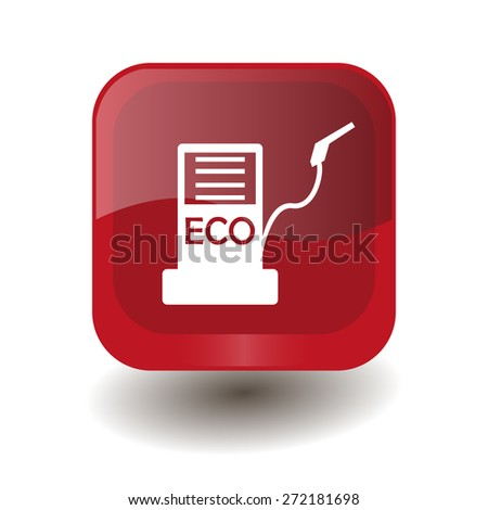 Red square button with white biofuels sign, vector design for website  - stock vector