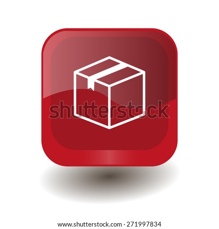 Red square button with white box sign, vector design for website - stock vector