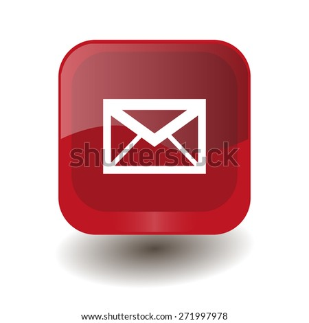 Red square button with white envelope sign, vector design for website - stock vector
