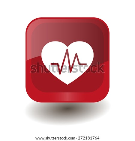 Red square button with white heart rhythm sign, vector design for website  - stock vector