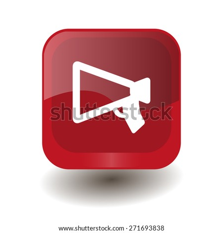 Red square button with white mouthpiece (announcing) sign, vector design for website  - stock vector