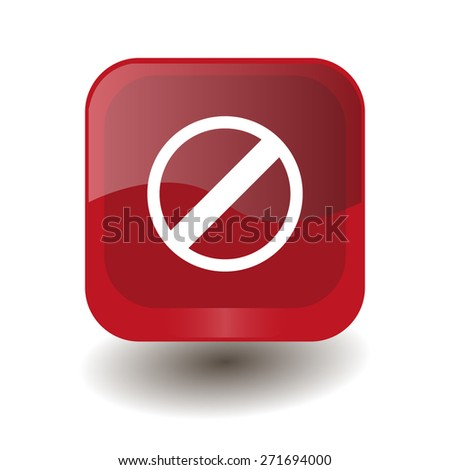 Red square button with white restricted sign, vector design for website  - stock vector