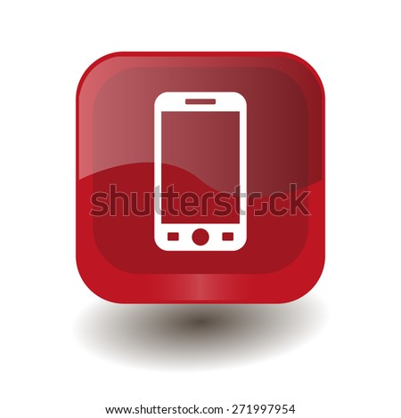 Red square button with white smartphone sign, vector design for website - stock vector