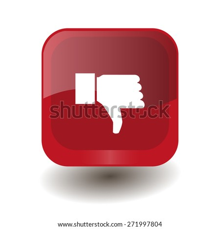 Red square button with white thumbs down (dislike) sign, vector design for website - stock vector