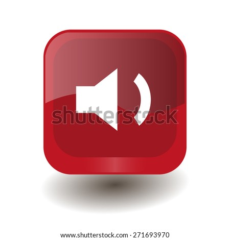 Red square button with white volume low sign, vector design for website  - stock vector