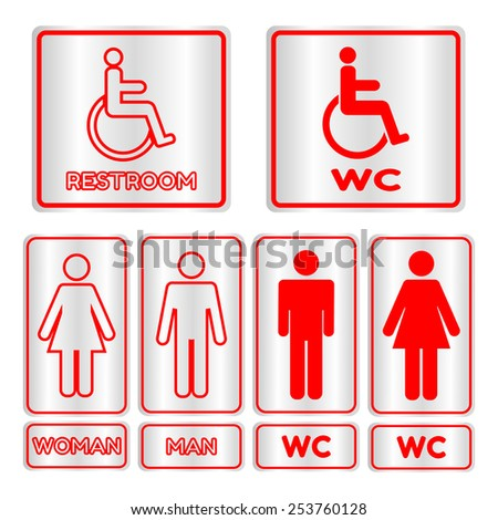 Red square restroom  Sign set with text,Vector illustration - stock vector
