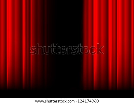 Red stage curtain with light, shadow and black space in middle