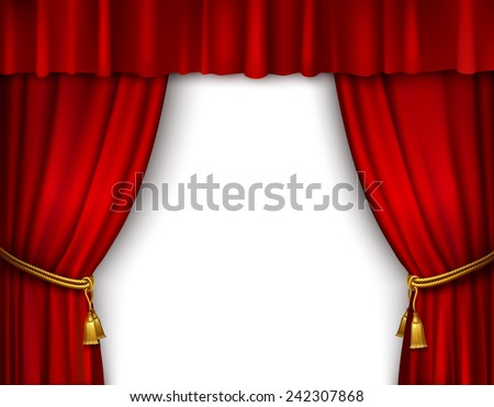 Red stage open theater velvet curtain with gold textile tassels isolated vector illustration - stock vector