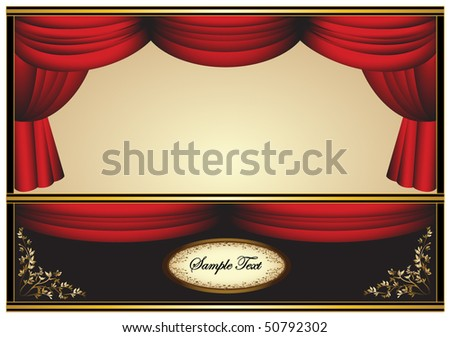 Red Stage Theater Drapes With Floor - stock vector