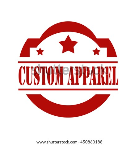 Red stamp with text Custom Apparel,vector illustration - stock vector