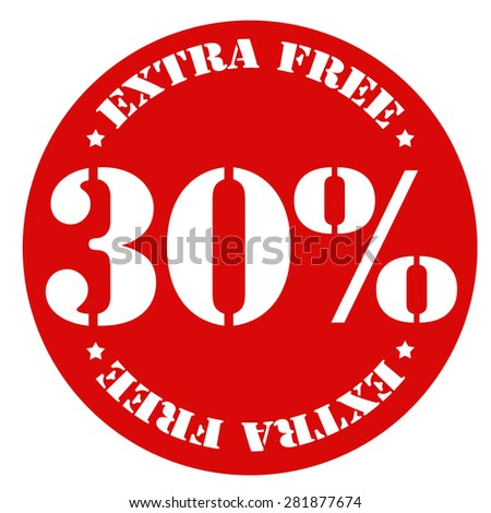 Red stamp with text 30% Extra Free,vector illustration - stock vector
