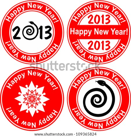 Red stamp with the text 2013 Happy New Year written on the stamp isolated on White background. Vector illustration - stock vector