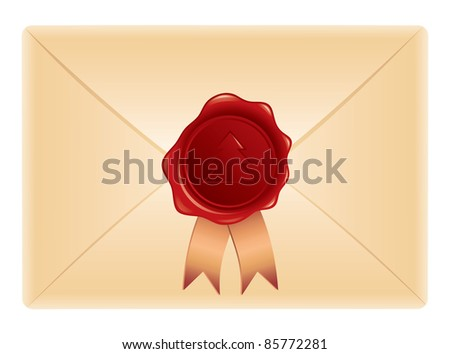 red stamp with xmas tree on beige envelope - stock vector