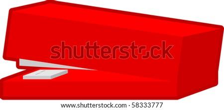 red stapler - stock vector
