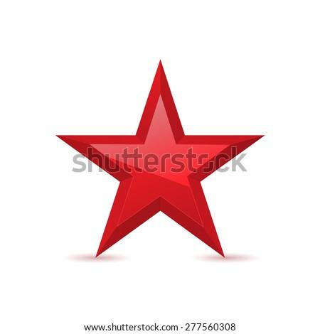 Red star, award symbol, pentagonal sign. Vector illustration - stock vector