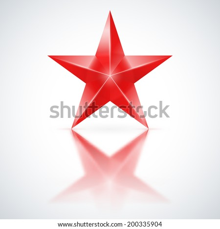 Red star of five points on white background. - stock vector