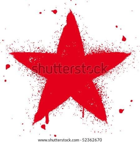 Red star spray graffiti ink vector illustration - stock vector