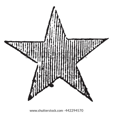 Red Star, vintage engraved illustration. Magasin Pittoresque 1852.