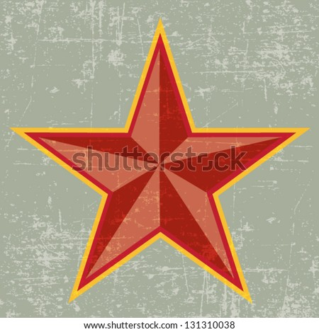 red star vintage style wallpaper background - stock vector