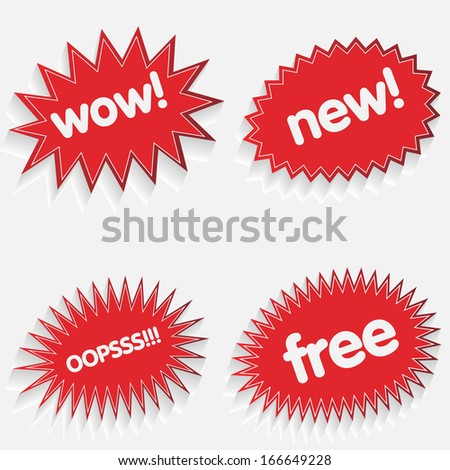 Red starbursts - stock vector
