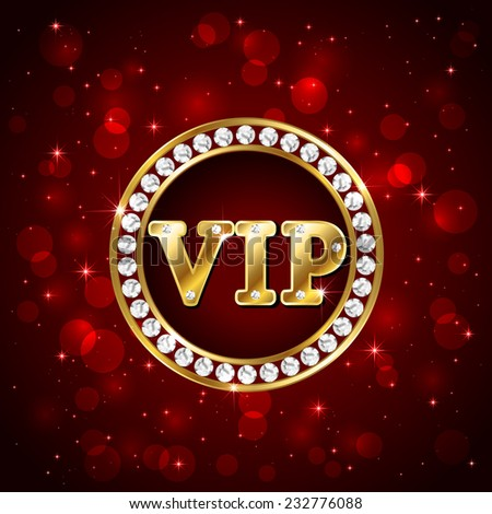 Red starry background with diamonds and golden letters Vip, illustration. - stock vector