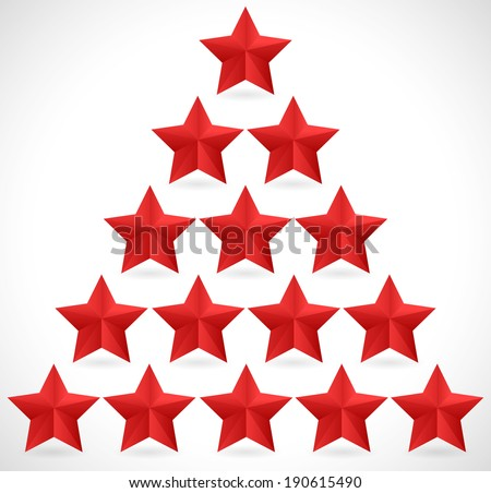 Red Stars - Red stars in triangle, pyramid shape. - stock vector