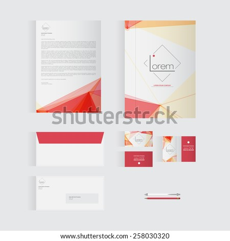 Red Stationery Template Design for Your Business | Modern Vector Design - stock vector