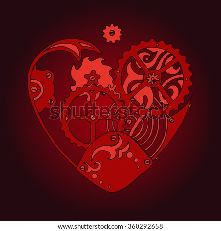 Red steam punk heart with cogs and tooted wheels in clockwork style, vector design for Saint Valentine's Day - stock vector