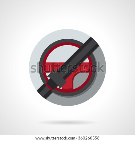 Red steering wheel with locked seat belt. Driver safety symbol, car insurance. Round flat color style vector icon. Single web design element for mobile app or website. - stock vector