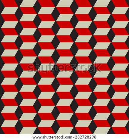 Red step pattern with black background.