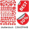 red stickers, labels, tags for shop sales, shopping, actions, retail, advertising - stock vector
