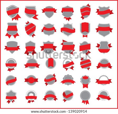 red stickers (set 2) - stock vector