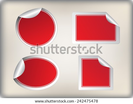 Red stickers. Vector template. - stock vector