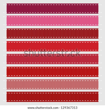Red Stitched Grosgrain Ribbon, Vector. Also see other color sets.