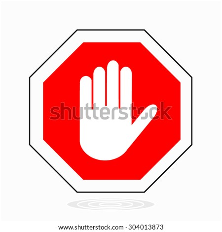 red stop hand sign for prohibited activitie - Vector illustration