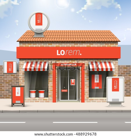 Red store design with white vertical shape. Elements of outdoor advertising. Corporate identity