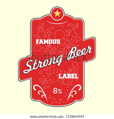 Red strong beer vector label - stock vector