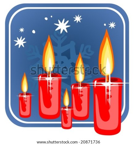 Red stylized christmas candles on a  blue background.