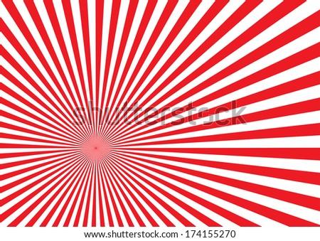 Red Sun Burst Effect. Vector - stock vector