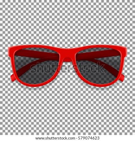 Red sun glasses isolated on transparent backdrop. Vector illustration with fashion summer accessory. Realistic sunglasses.